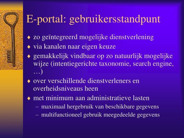 E-portal: gebruikersstandpunt