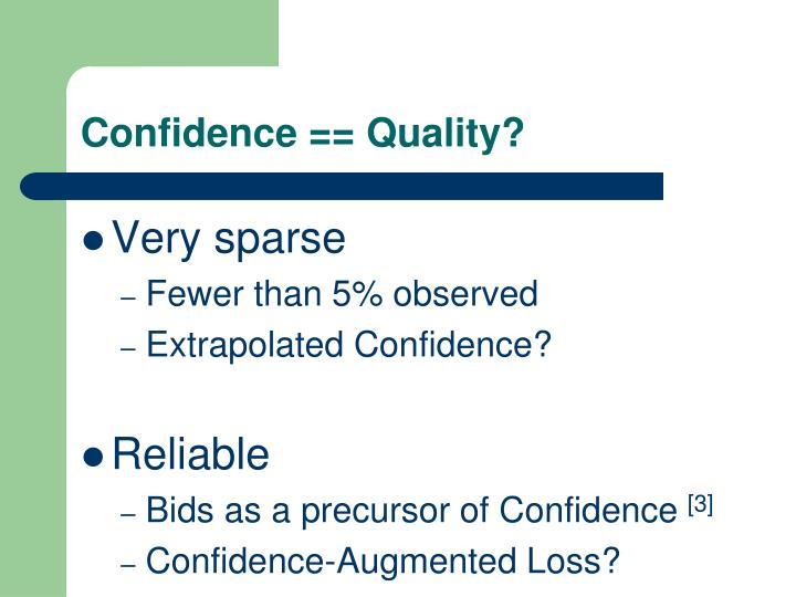 Confidence == Quality?