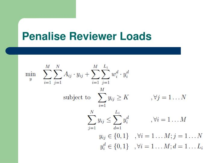 Penalise Reviewer Loads