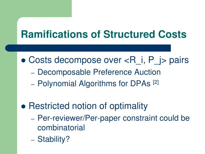 Ramifications of Structured Costs