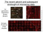 the recent advent and subsequent onslaught of microarray data