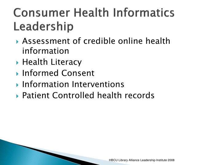 Consumer Health Informatics Leadership