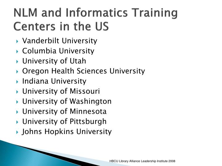 NLM and Informatics Training Centers in the US