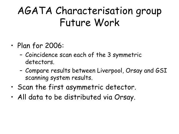 AGATA Characterisation group Future Work