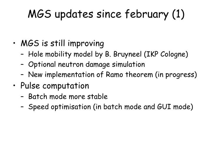 MGS updates since february (1)
