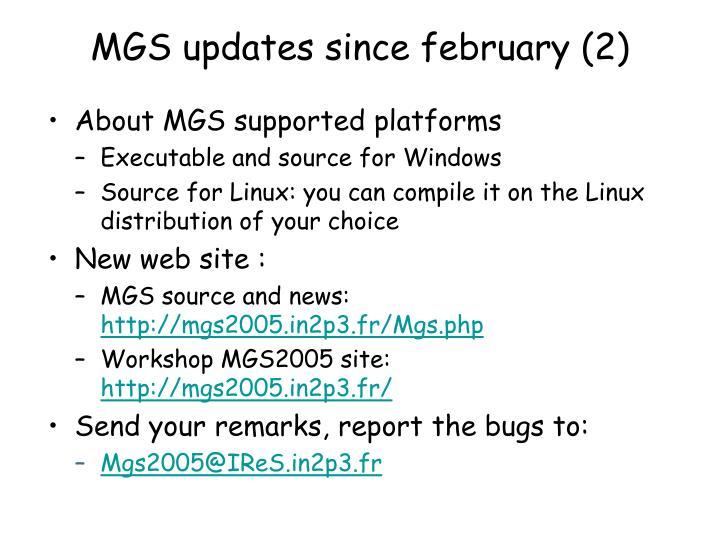 MGS updates since february (2)