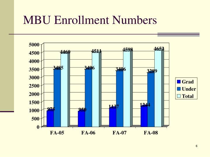 MBU Enrollment Numbers