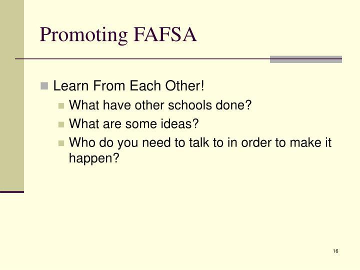 Promoting FAFSA