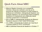 quick facts about mbu