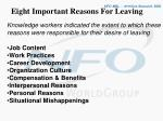 eight important reasons for leaving