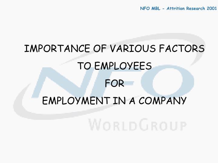 IMPORTANCE OF VARIOUS FACTORS