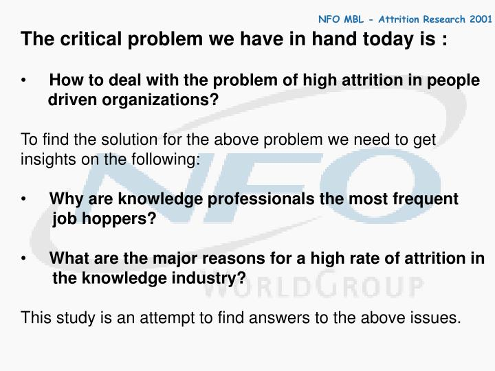 The critical problem we have in hand today is :