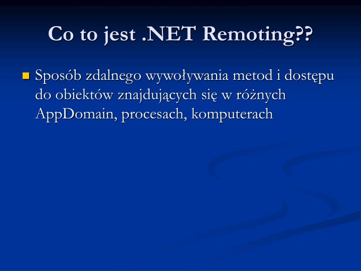 Co to jest net remoting