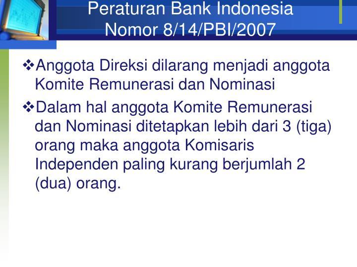 Peraturan Bank Indonesia Nomor 8/