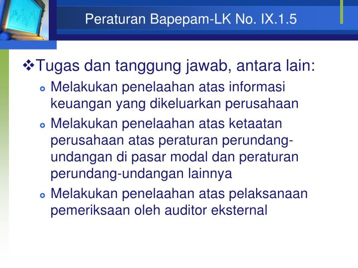 Peraturan Bapepam-LK No. IX.1.5