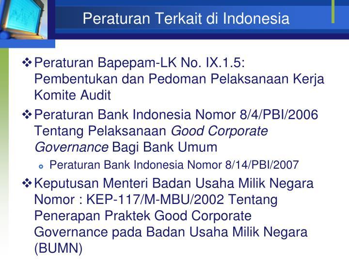 Peraturan Terkait di Indonesia
