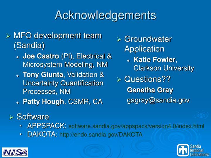 MFO development team (Sandia)