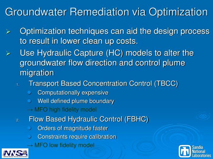 Groundwater Remediation via Optimization