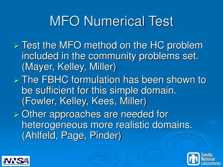 MFO Numerical Test