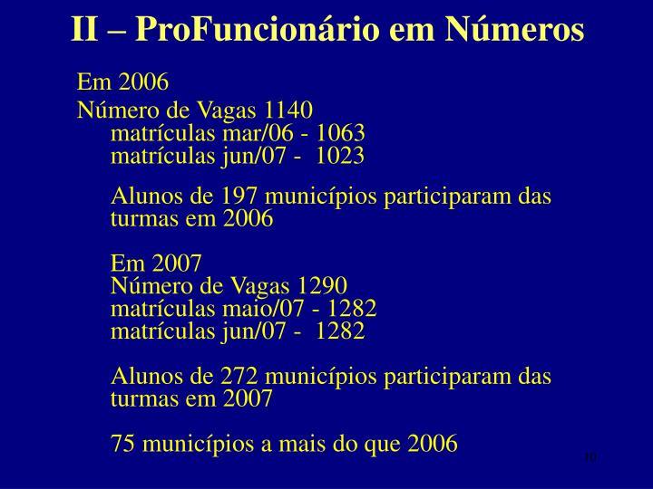 II – ProFuncionário em Números