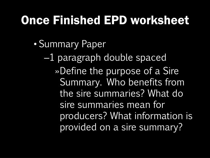 Once Finished EPD worksheet