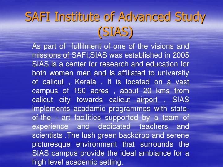 SAFI Institute of Advanced Study (SIAS)