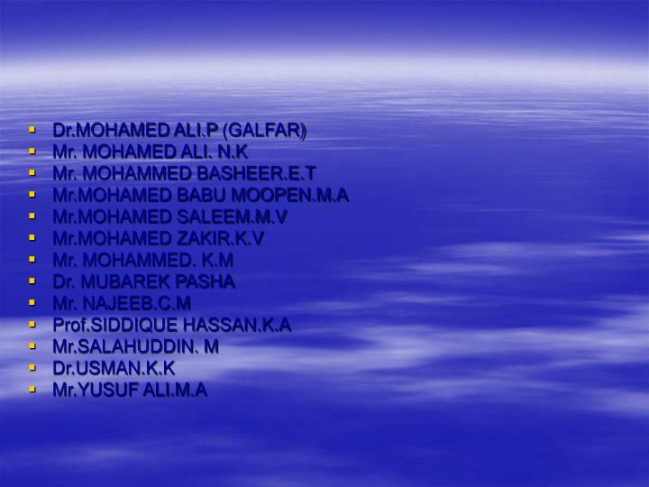 Dr.MOHAMED ALI.P