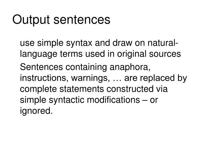 Output sentences