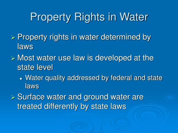 Property Rights in Water