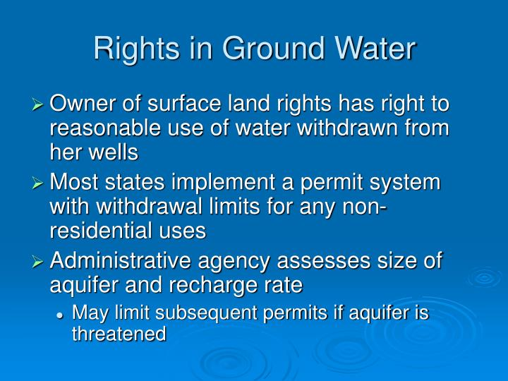 Rights in Ground Water