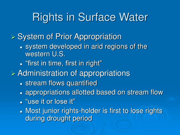 Rights in Surface Water