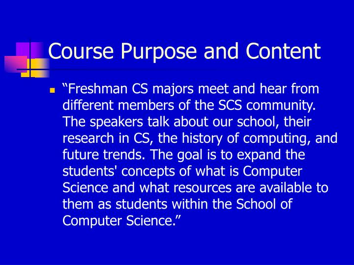 Course Purpose and Content