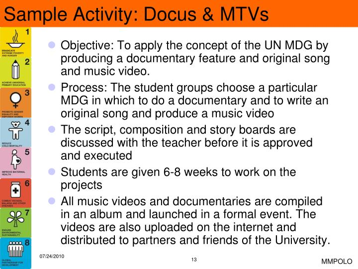Sample Activity: Docus & MTVs