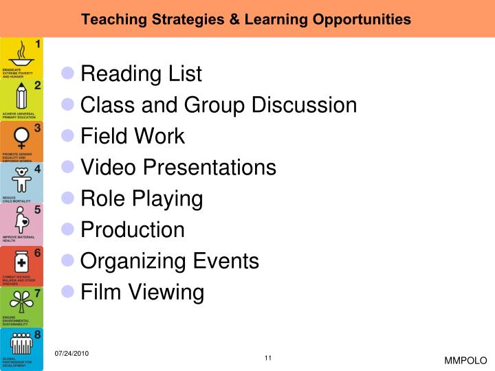Teaching Strategies & Learning Opportunities