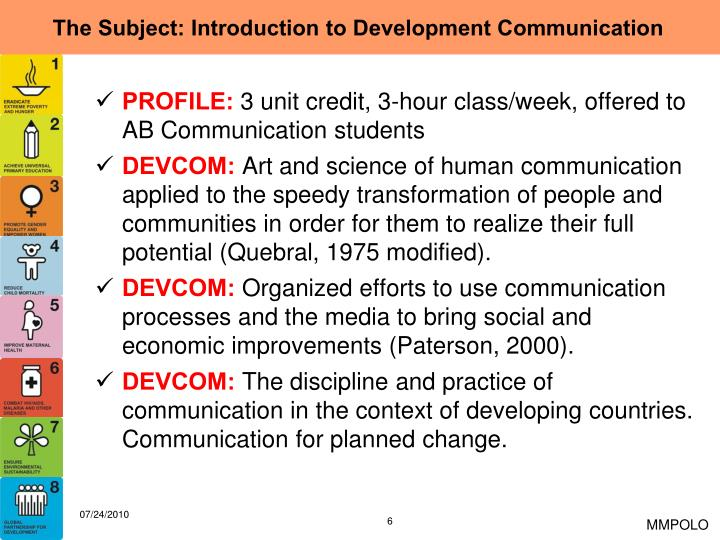 The Subject: Introduction to Development Communication