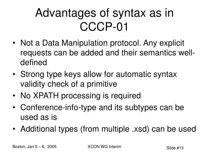 Advantages of syntax as in