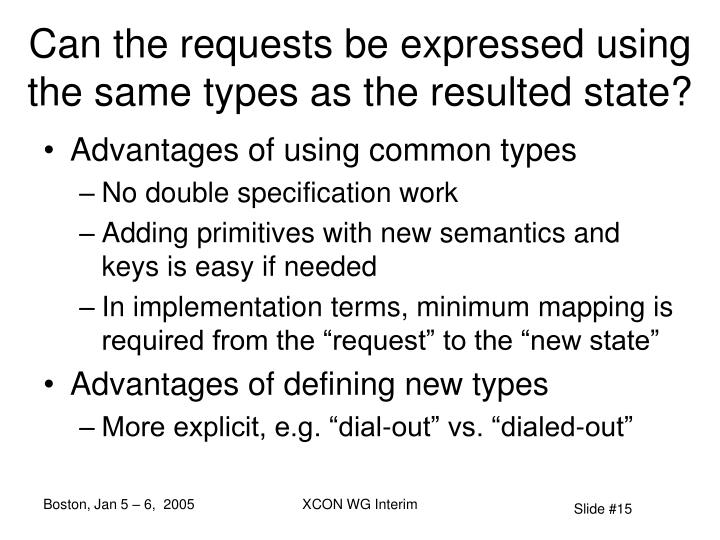 Can the requests be expressed using the same types as the resulted state?