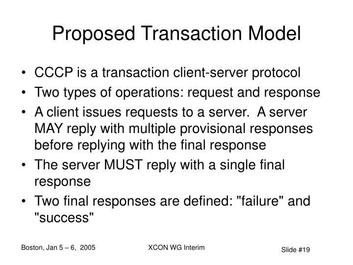 Proposed Transaction Model