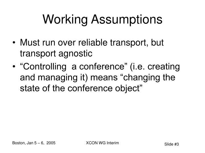 Working Assumptions