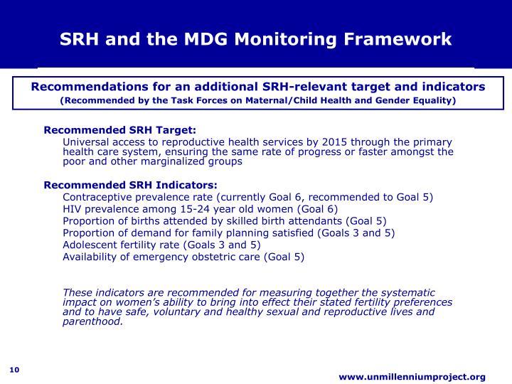 SRH and the MDG Monitoring Framework