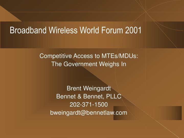 Broadband Wireless World Forum 2001