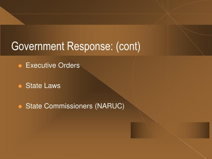 Government Response: (cont)
