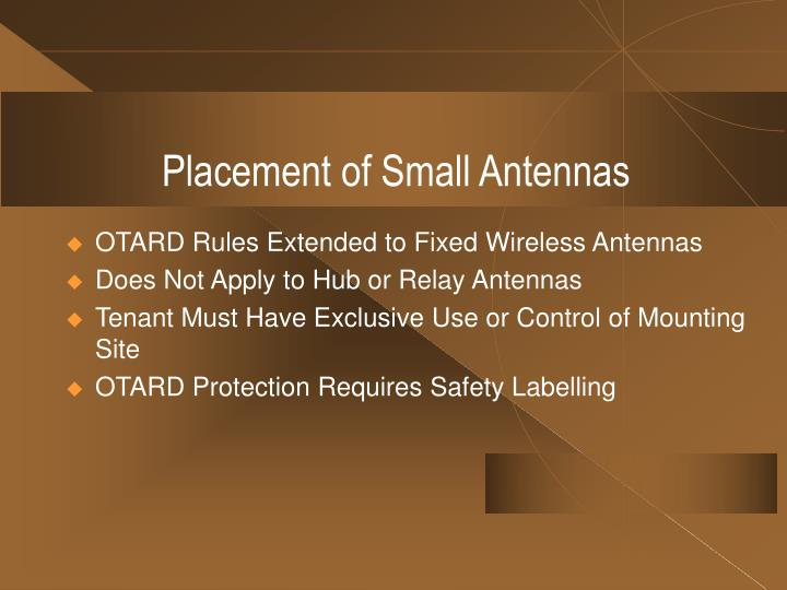 Placement of Small Antennas