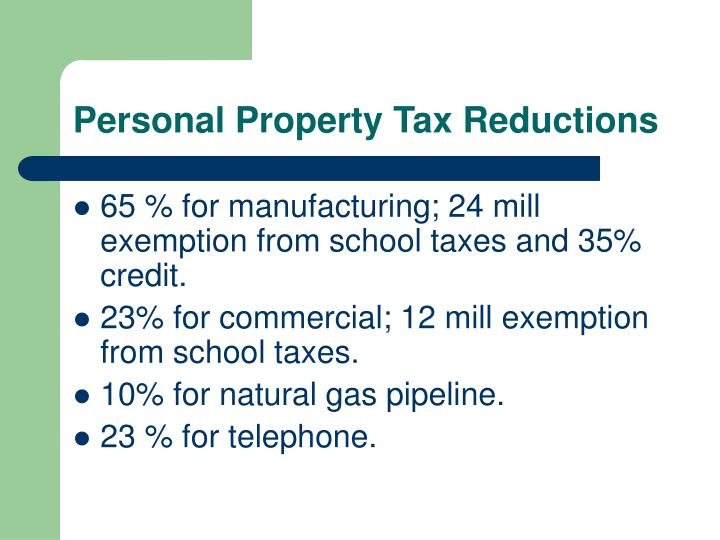 Personal Property Tax Reductions