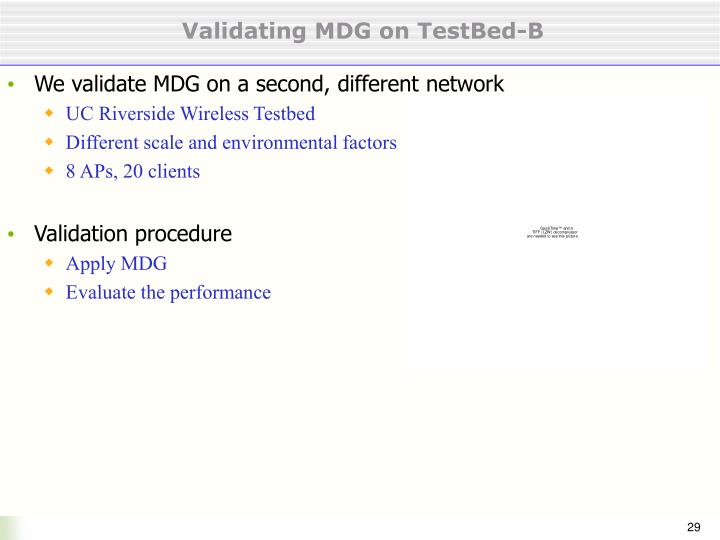 Validating MDG on TestBed-B