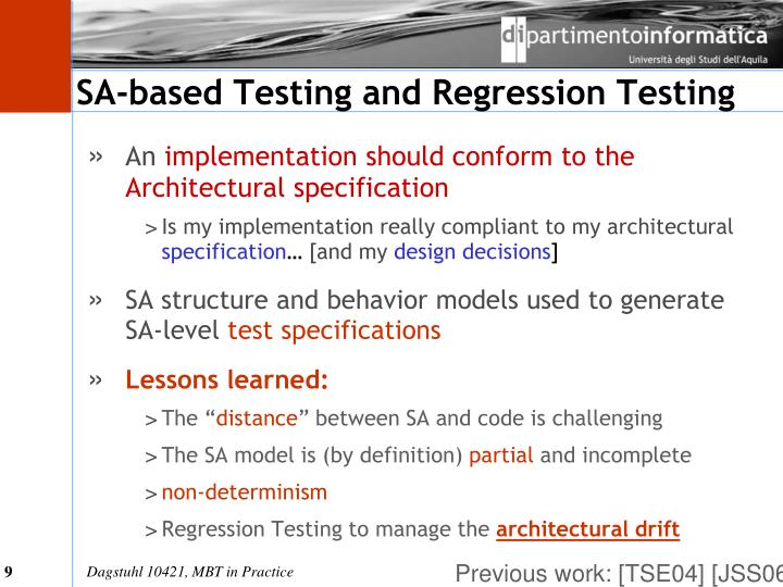 SA-based Testing and Regression Testing
