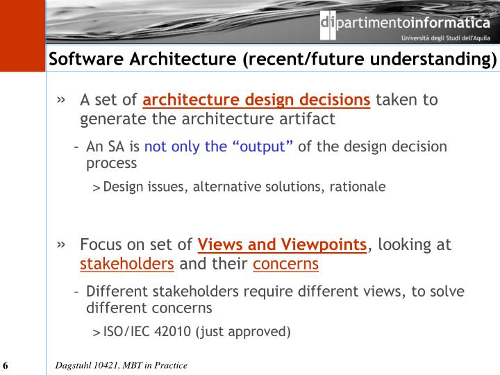 Software Architecture (recent/future understanding)