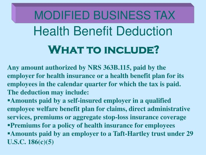 Health Benefit Deduction