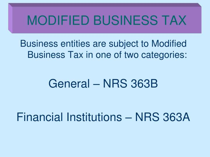 Modified business tax1