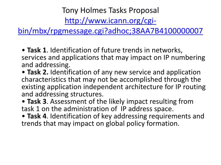 Tony Holmes Tasks Proposal